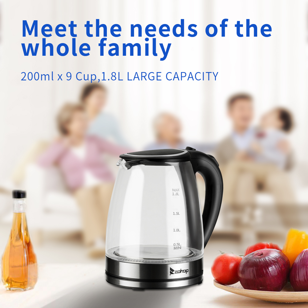 1.8L 1500W Electric Glass Hot Water Kettle Colourful BPAfree